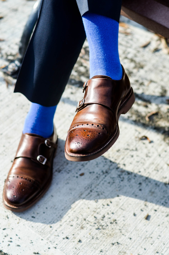 blue socks with double monk shoes