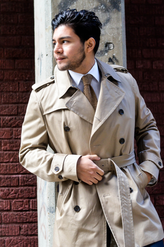 dandy in the bronx trench coat with a navy suit