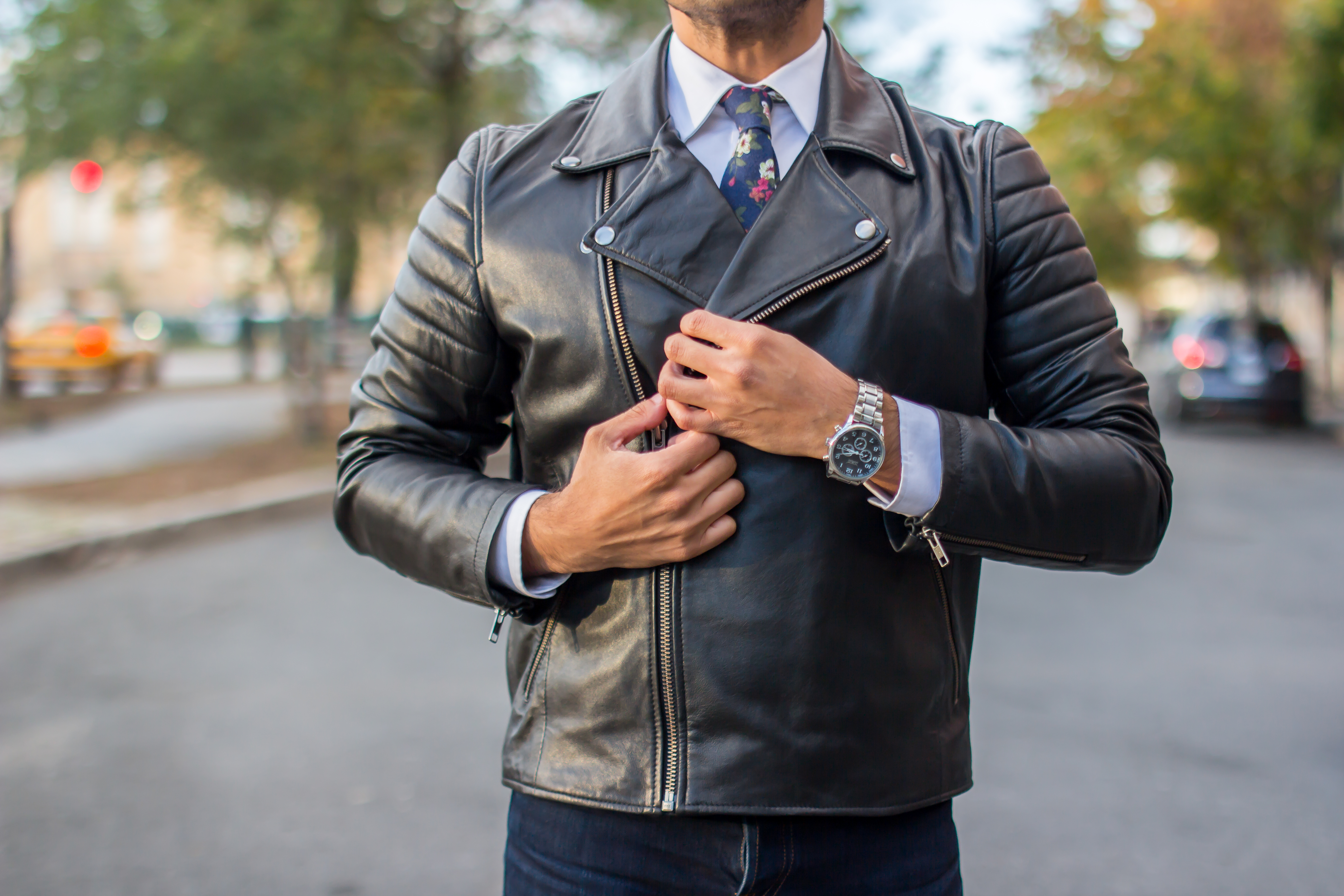 Leather Jacket With A Shirt And Tie Dandy In The Bronx