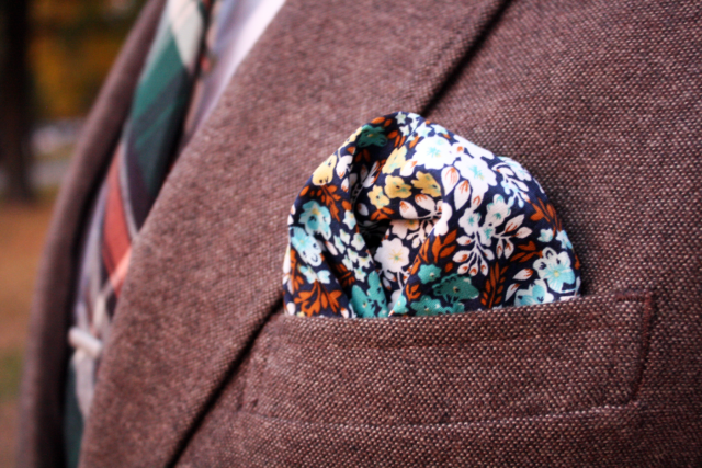 floral pocket square for fall with brown blazer - dandy in the bronx