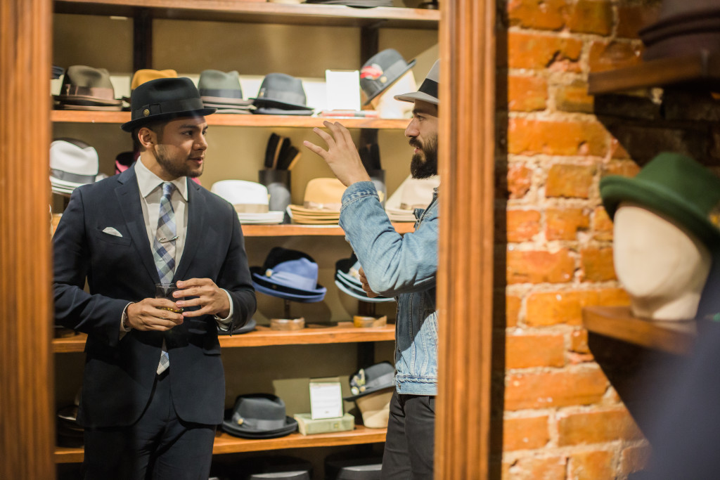 New York Nolita Goorin Bros Store Trying hats that do not fit