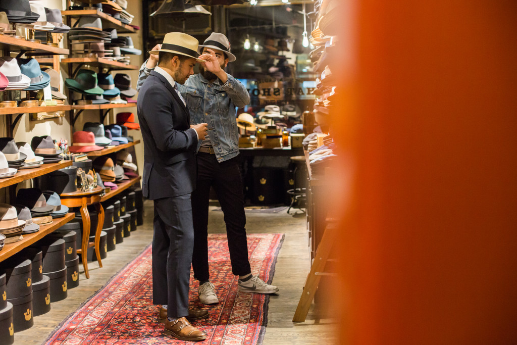 New York Nolita Goorin Bros Store Trying hats that fit