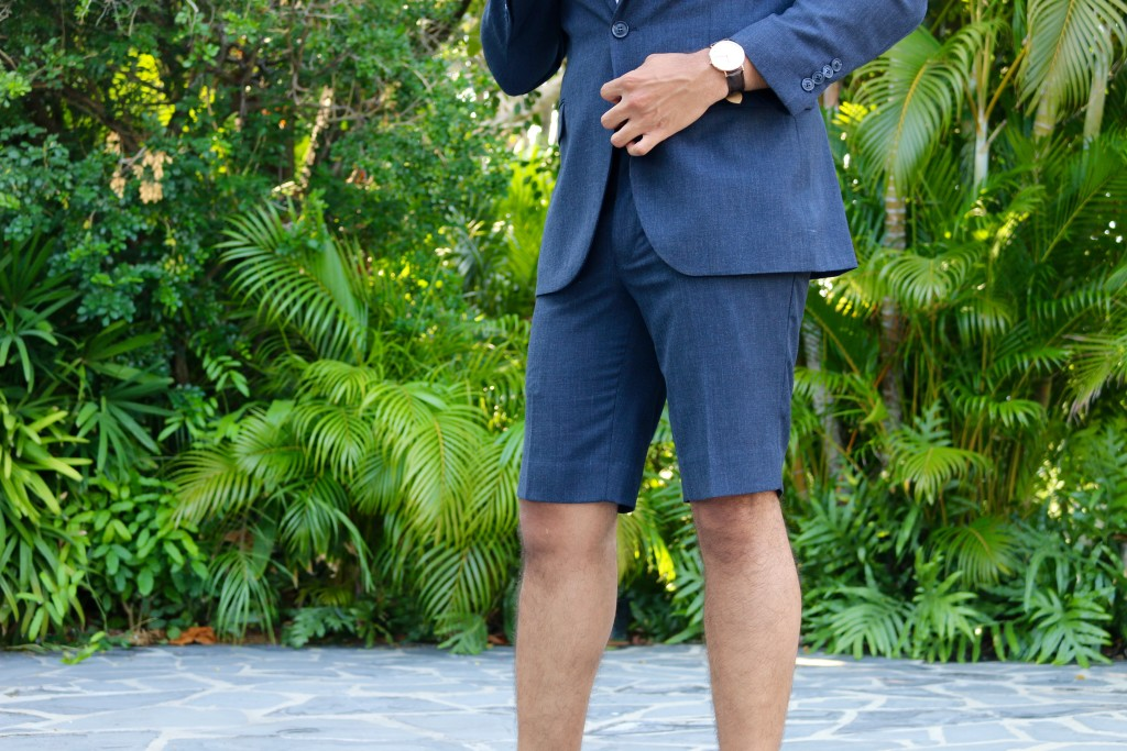Wearing a shorts suit