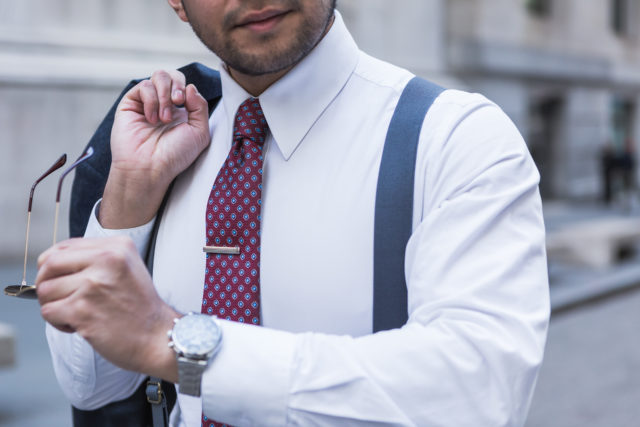menswear deals for cyber monday - wearing suspenders - dandy in the bronx