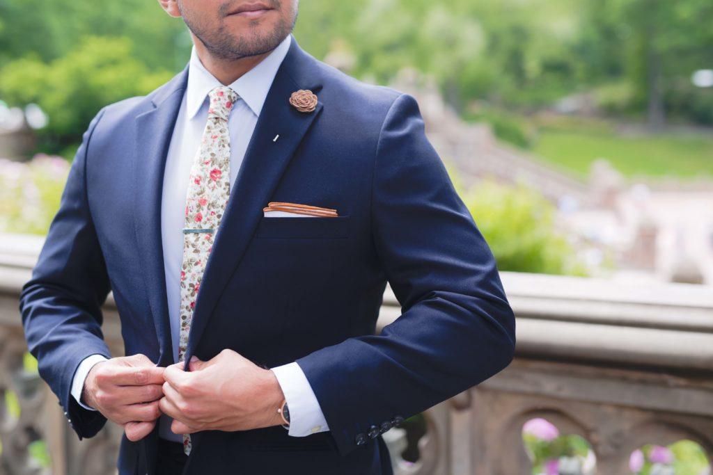 sprezzabox tie, pocket square, and lapel pin