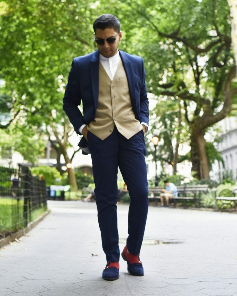 no collar look, Mandarin collar, blue suit, topman, muscle fit suit