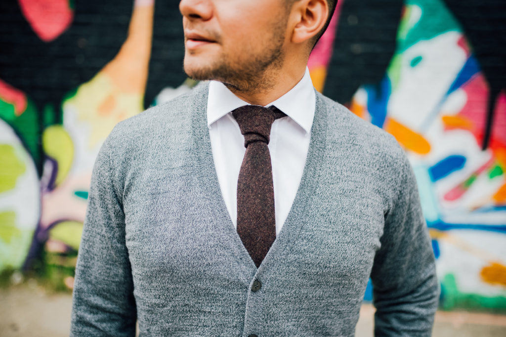 frank and oak cardigan , wearing with a shirt and tie - dandy in the bronx