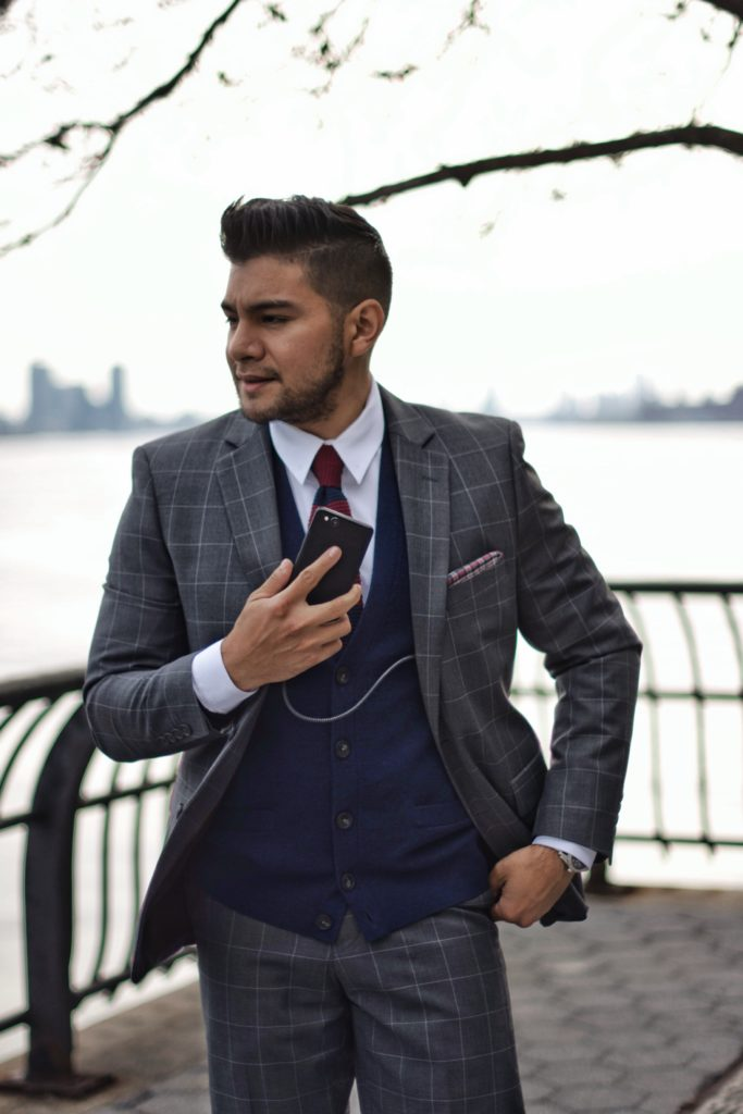 windowpane suit with cell phone - nomad usb cables