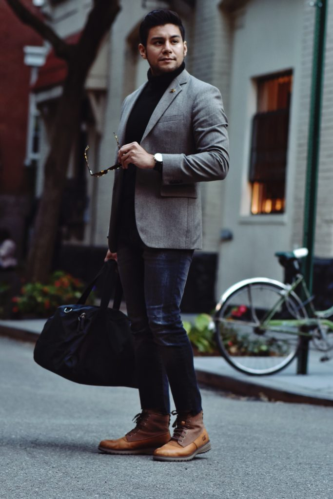 blazer and turtleneck combo and boots
