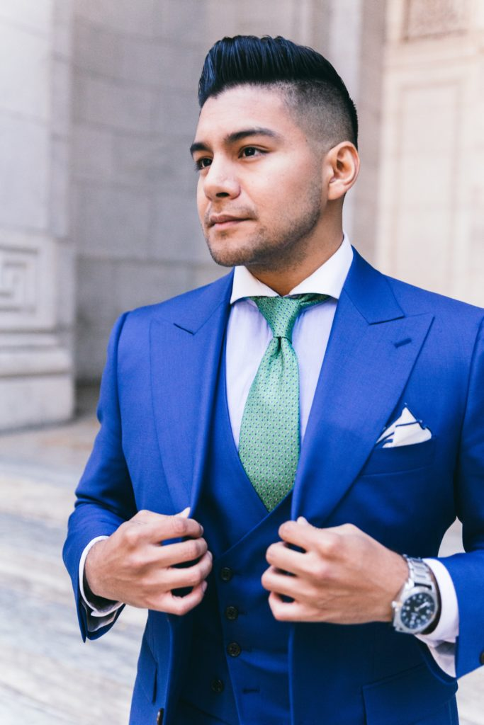 institchu blue three piece suit with custom lining - dandy in the bronx