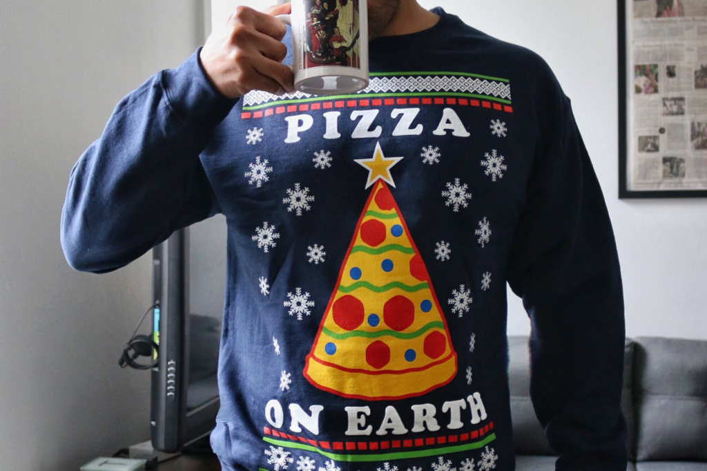 pizza on earth - pizza ugly christmas sweater - dandy in the bronx