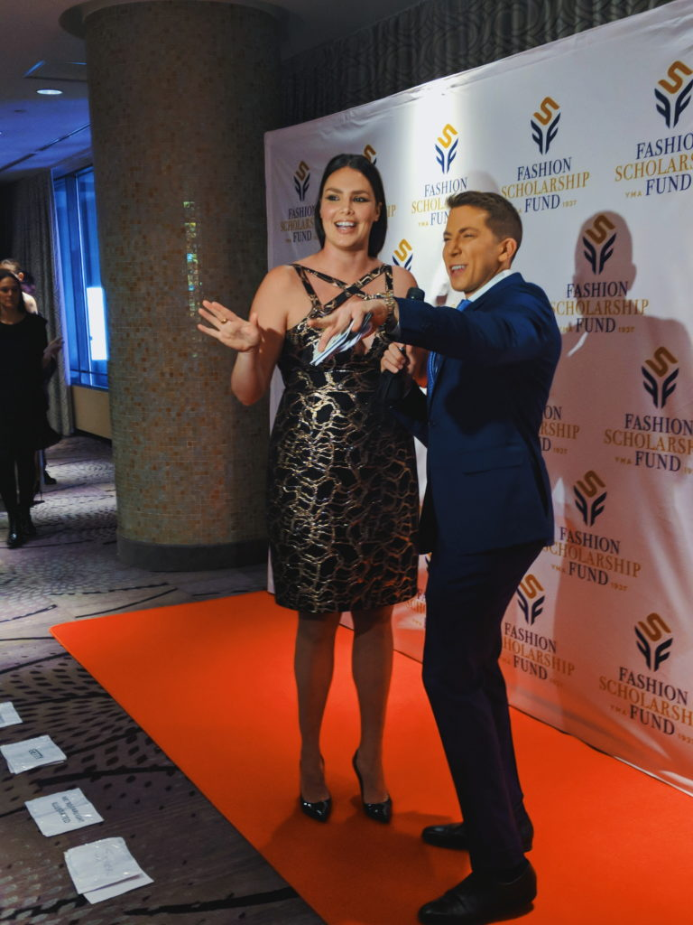 Candice Huffine and Baruch Shemtov at the 2018-annual-fashion-scholarship-fund-fsf-national-merit-scholarship-awards dandy in the bronx