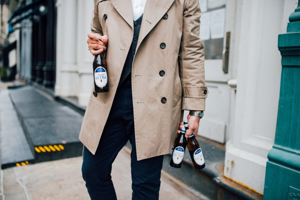 casual trench coat mens look with a beer - dandy in the bronx